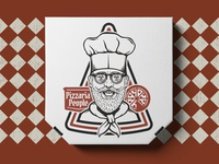 Pizza Box Mockup   PIZZARIA PEOPLE  10 retro logo graphic merch branding design illustration pizza box pizza logo pizza