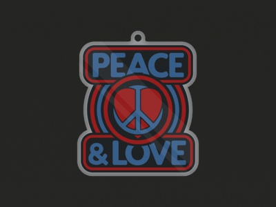 PEACE & LOVE love peace sign keychaindesign merch design retro design retro logo