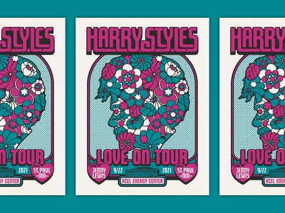 HARRY STYLES POSTER - XCEL ENERGY CENTER 70s flower vintage screen print concert poster pop art gig poster design retro design graphic illustration