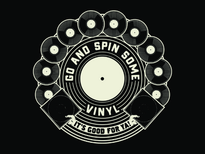 VINYL'S GOOD FOR YA! (COTTON BUREAU TEE) screenprint tee shirt tee vinyl cotton bureau