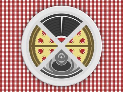 Pizza, Vinyl & Beer! - Corey Sweeter beer art food turntable records beer vinyl pizza