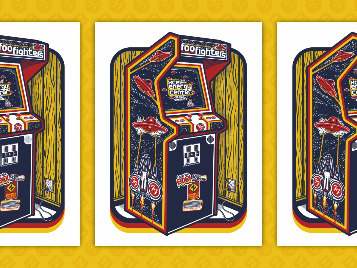Foo Fighters Concert Poster - Xcel Energy Center 2018 arcade machine arcade game poster design poster illustration screen print foo fighters gig poster concert poster poster art