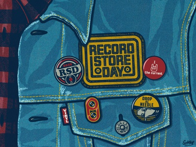 Records Store Day 2019 - The Current patch design patch music art pin design pin button design buttons button design illustration logo record store day records vinyl