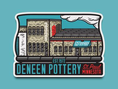 Deneen Pottery heritage vintage merchandise design merch sticker illustration