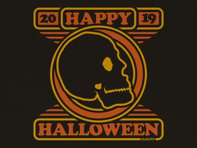 HAPPY HALLOWEEN 2019 retro design cooper black skull art skull halloween design halloween