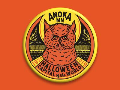 ANOKA HALLOWEEN BUTTON owl illustration owl logo owl retro design retro badge illustration button illustration button design button halloween design halloween
