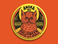 ANOKA HALLOWEEN BUTTON owl illustration owl logo owl retro design retro badge illustration button illustration button design button halloween design halloween