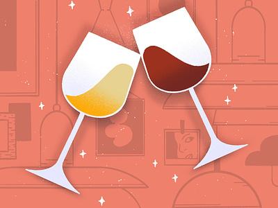 inktober 2020 // day 25 ✦ buddy party white wine red wine alcohol drinking celebrate celebration illustration midcentury wine glasses wine