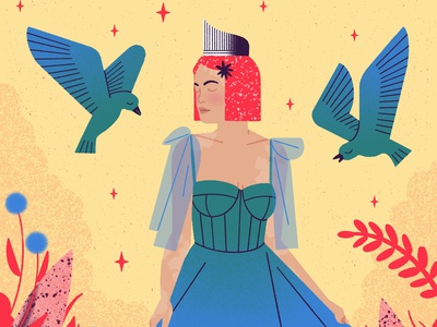 The Empress fantasy woman character magic procreate magical texture cute minimal illustration tarot