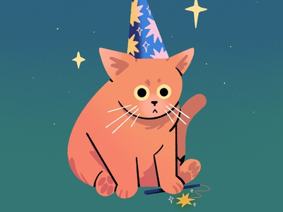 Wizard procreateapp procreate adorable fantasy magic cats illustration cute wizard cat