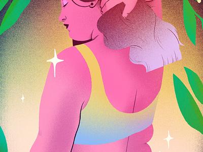 Sultry summer portrait procreateapp character magical procreate texture illustration woman illustration women woman