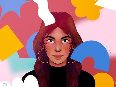 Building a portrait design portrait procreateapp woman character magic magical procreate texture illustration