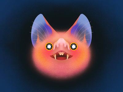 Drivin' me batty procreateapp character texture procreate illustration cute animal bat