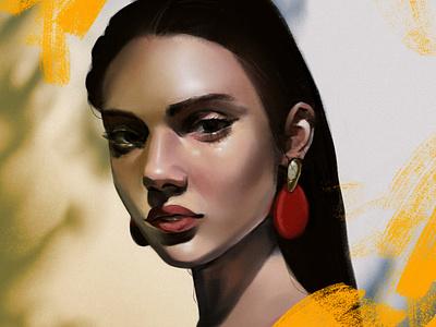 Portrait study #2 procreate procreateapp portrait woman character cute texture illustration