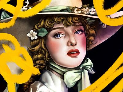 Summertime secrets design procreateapp portrait woman character magical procreate texture illustration