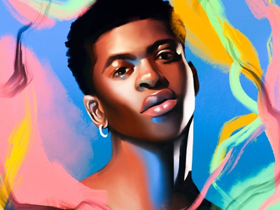 Lil Nas X call me by your name montero music lil nas portrait character magical texture illustration