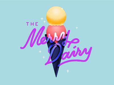 The Merry Dairy sorbet cute script lettering handlettering typography dessert logo ice cream