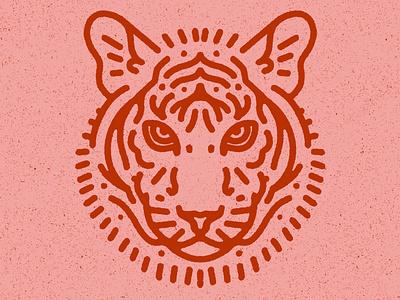 Tiger 虎 tiger king logo cute lion portrait procreate texture minimal animal illustration tiger
