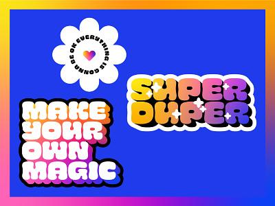 ✿ Super duper sticker pack ✿ multicolour multicolor gradient quote magical maximalist magic sticker pack stickers typography graphic design