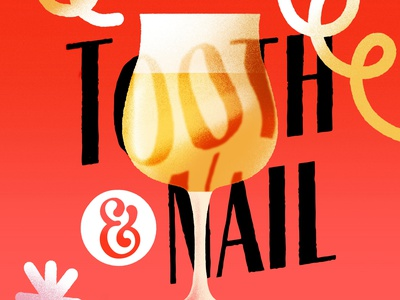 Tooth & Nail brewery alcohol beer magical cute texture procreate illustration branding
