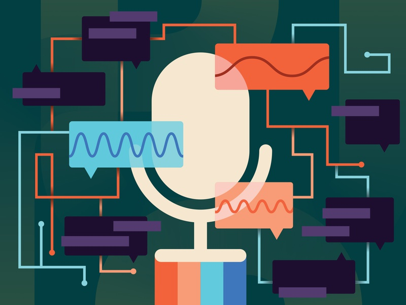 Voice as the next big thing accessibility music editorial art editorial technology speech green minimalist minimal illustration mic voice