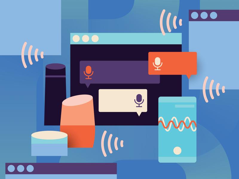 Voice Marketing Strategies design voice search phones minimal home sound blue technology speech business voice illustration