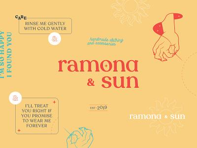 ramona & sun texture vector typography cute minimal logotype concept branding concept branding design brand identity yellow warm orange yello retro classic design logo brand branding