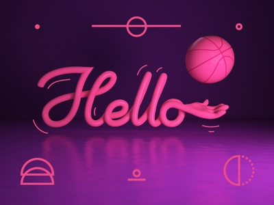 Hello Dribbble!!! first shot hand lettering 3d hello debut