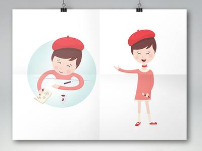 Printemps Designer cute doodle smile happy girl designer