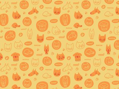 Doodle Pets Pattern happy smile pet pattern cute fun kitty dog cat doodle
