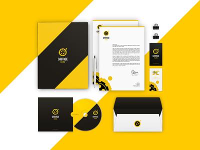 Garage Films Stationary business card a4 folder stationary gear garage film branding brand