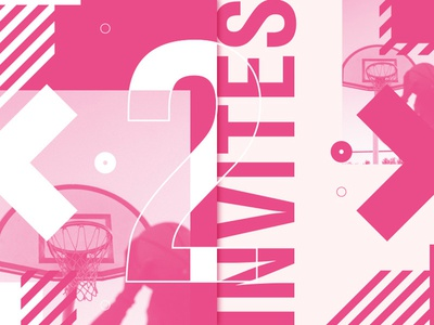 Dribbble Invites x2 basketball sport ball draft poster dribbble invitation invite