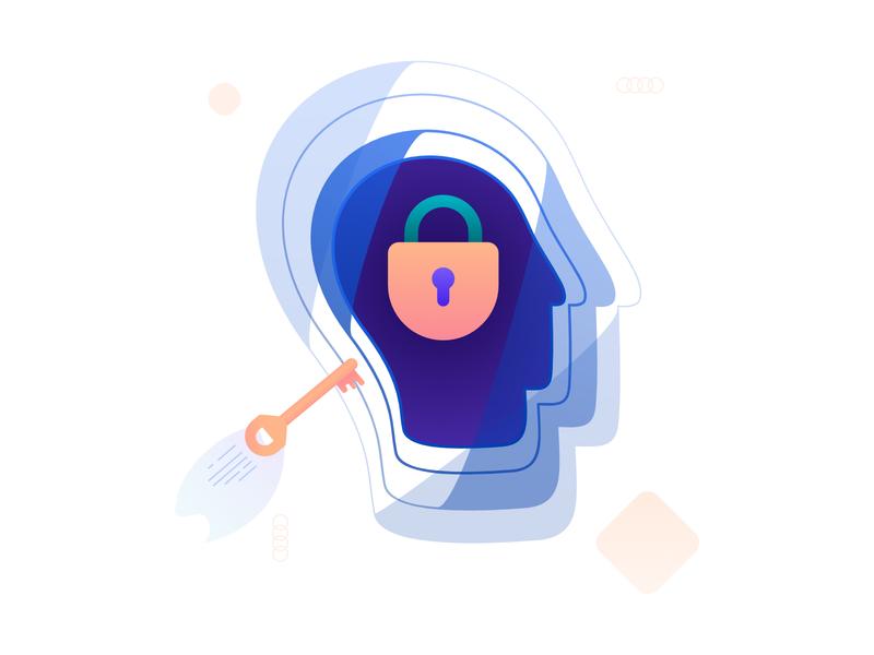 Unlocked open block creativity creative illustration head brain key lock