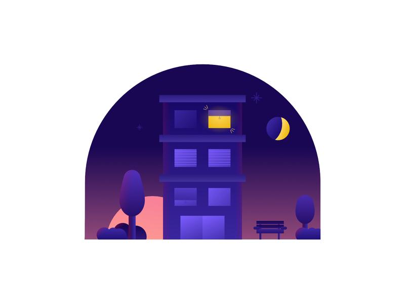 Home working work sun dawn sunrise moon sky designer night freelance freelancer illustration