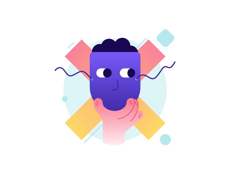 Impostor illustration hand gradient masked disguise mask