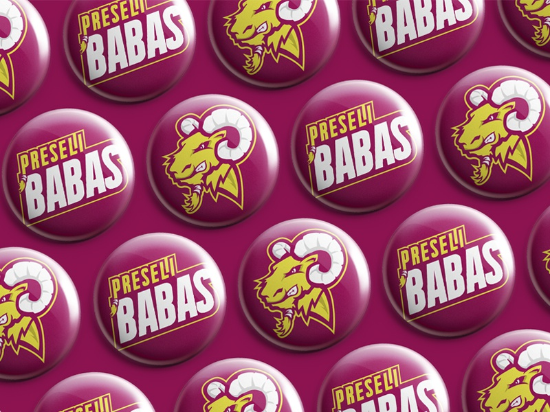 Preseli Babas sport bold sevens type sheep rugby badge logo