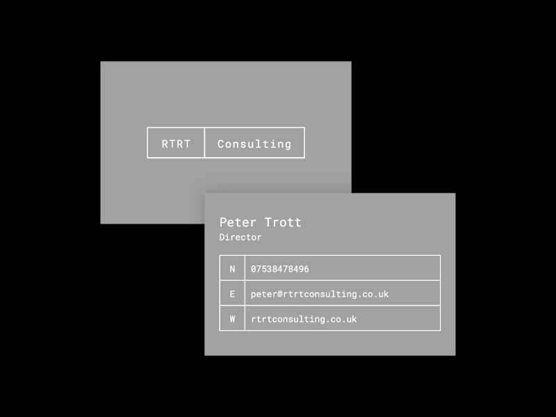 RTRT Consulting boxes lines modern clean simple black grey identity cards logo
