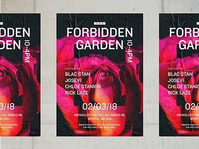 The Forbidden Garden nightclub garden forbidden event typography pink rose poster