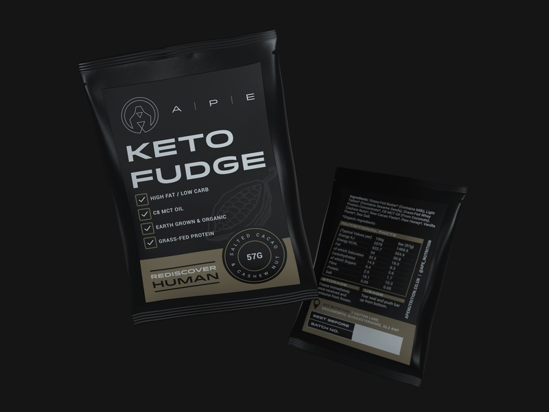 A P E Nutrition fudge brand renders black gym product food protein logo packaging