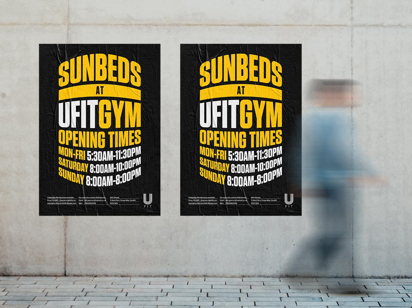 Sunbed Posters print graphic  design typogaphy mockup logo branding identity posters black yellow sunbed