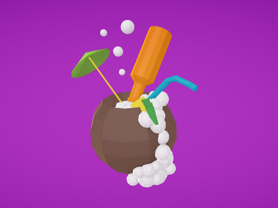 Vacation Coconut beach drink render 3d google blocks vr lowpoly vacation coconut