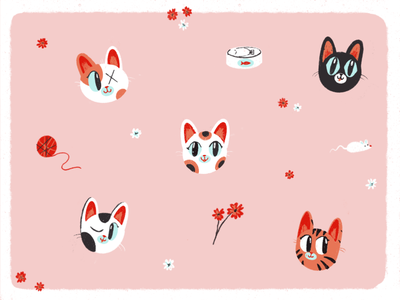 Cute cats cherry blossom kitten play time pets happy funny kitty cats cat design character texture cute illustration