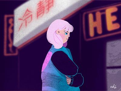 Neon Night vector illustration flat jacket bomber pink hair girl city nights lights