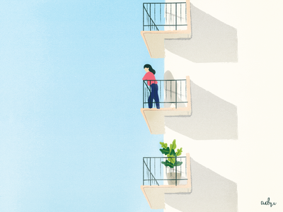 Balconies city morning texture flat blocking color building balcony wondering waiting plant girl