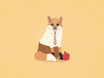 Fantastic Mr. Fox shiba cute tones earth casual business tie foxy apple anderson wes