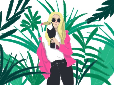 Toucan Girl pink tropic nature summer jungle bird toucan blonde girl vibes tropical