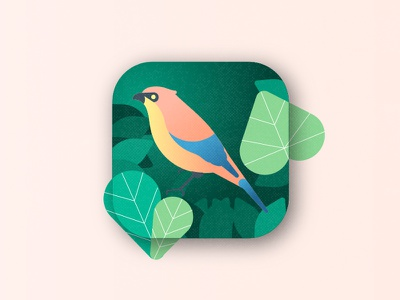 Bird Watching App Icon | Daily UI 005 illustration interface nature leaves bird app icon ux 005 ui daily dailyui
