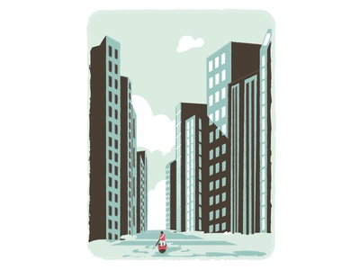 Paddle down in water town paddle texture vignette lake mood character abandoned city row buildings flood illustration