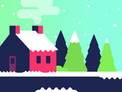 Winter Cottage holiday cold street vector snowy card christmas winter house snow flat illustration