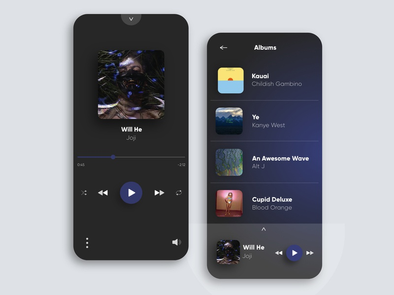 Chameleon Music Player Interaction | Daily UI 009 play icon floating clean flat player app music ui ux uidesign daily joji